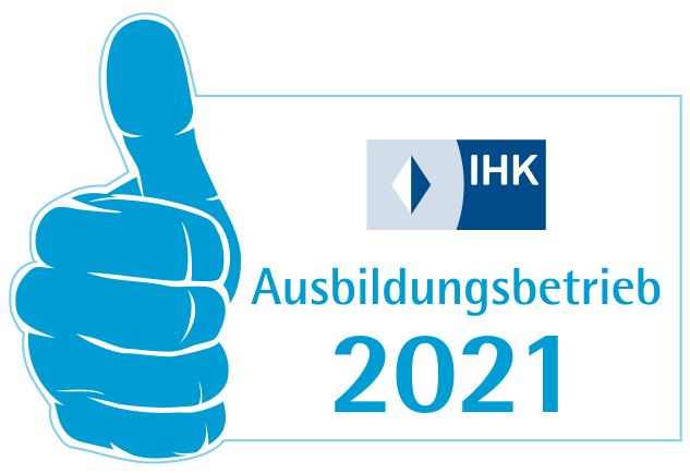 Aufkleber/Siegel: bachmaier® ist IHK Ausbildungsbetrieb 2021.